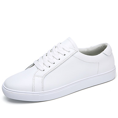 Women's Shoes Cowhide Spring Fall Comfort Sneakers Flat Heel Closed Toe for Casual White Black