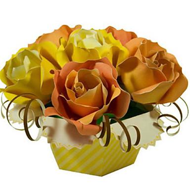 Quebra-Cabeças 3D Maquetes de Papel Artesanato de Papel Brinquedos de Montar Rose Simulação Faça Você Mesmo Clássico Unisexo Dom