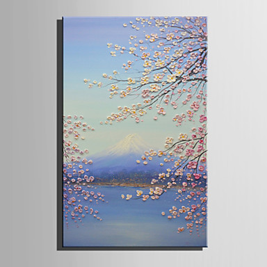 Oil Painting Hand Painted - Floral / Botanical Retro Canvas