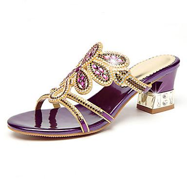 Mulheres Sapatos Micofibra Sintética PU Verão / Outono Conforto / Inovador Sandálias Caminhada Salto Agulha Dedo Aberto Pedrarias para