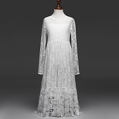 Girl's Jacquard Dress, Cotton Polyester Summer Long Sleeves Lace White