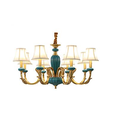 8-luz Estilo de vela Lustres Luz Superior Latão Metal Tecido Estilo Mini, Designers 110-120V / 220-240V