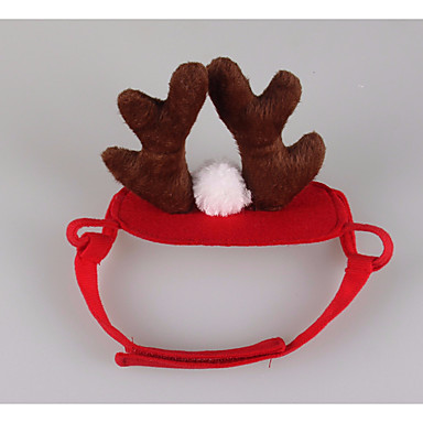 Cat Hair Accessories Dog Clothes Reindeer Red Plush Fabric Costume For Pets Cosplay / Christmas