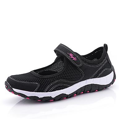 Mulheres Sapatos Camurça / Tule Primavera / Verão Conforto Sandálias Caminhada Sem Salto Ponta Redonda Presilha / Combinação Preto / Roxo