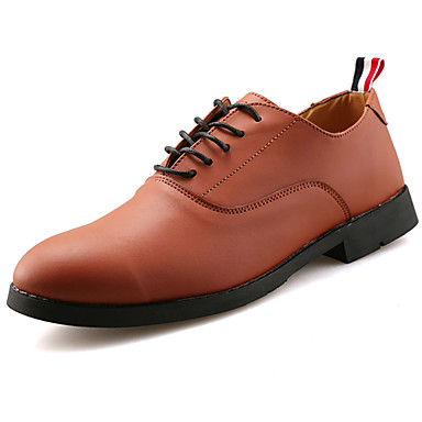 Men's Shoes PU Spring Fall Comfort Oxfords for Outdoor Black Blue Dark Brown