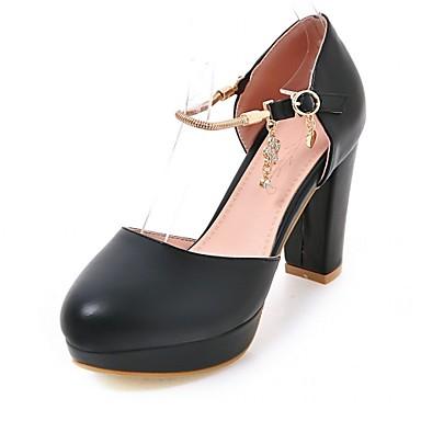 Mulheres Sapatos Courino Couro Ecológico Verão Outono Conforto Inovador Saltos Caminhada Salto Robusto Ponta Redonda Pedrarias para