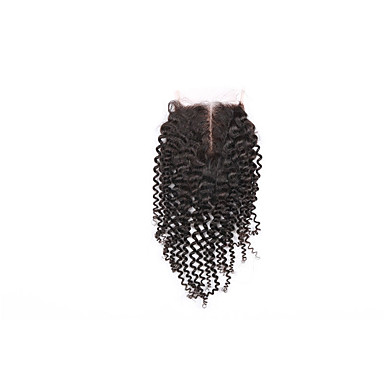 4x4 Closure Kinky Curly Free Part / Middle Part / 3 Part Swiss Lace Human Hair