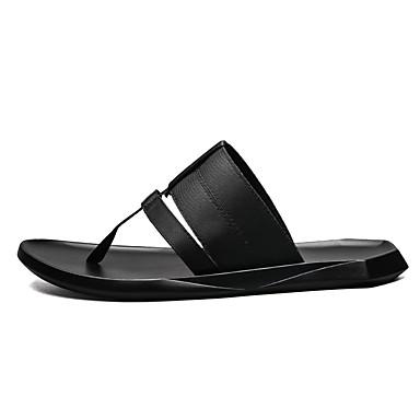 Herre sko PU Sommer Komfort Tøfler og flip-flops til Avslappet Hvit Svart