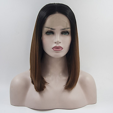 Short Bob Black ombre Brown Heat Resistant Fiber Cosplay Party Synthetic Lace Front Wigs With Baby Hair For Black Women