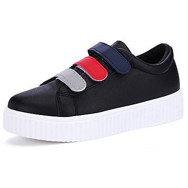 Mulheres Sapatos Borracha Primavera Outono Conforto Tênis Sem Salto Ponta Redonda Cadarço para Ao ar livre Preto Vermelho / Branco
