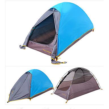 Trackman® 1 person Telt Dobbelt camping Tent Ett Rom Brette Telt Vindtett Regn-sikker Sammenleggbar Lettvekt til 2000-3000 mm Nylon CM