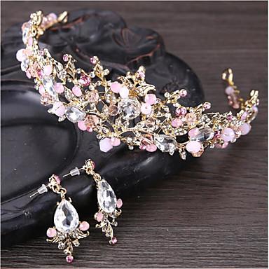 Mulheres Cristal Gema Floral Conjunto de jóias - Floral Básico Natureza Flor Tiaras Para Casamento Aniversário Festa / Eventos Noivado