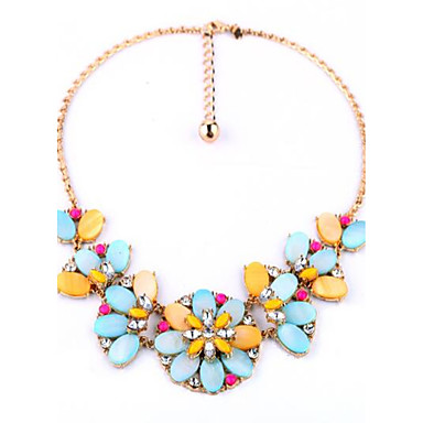 Women's Chain Necklaces Statement Necklaces Flower Geometric Alloy Floral Luxury Unique Design Flower Style Pendant Flowers Jewelry For