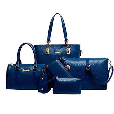 Mujer Bolsos Cuero Conjuntos de Bolsa 5 piezas de monedero conjunto Beige / Azul / Champaña / Conjuntos de bolsas