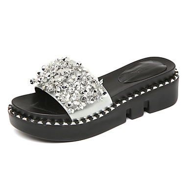 Women's Shoes Patent Leather Summer Moccasin Slippers & Flip-Flops Wedge Heel Peep Toe Rhinestone for Casual Black Silver