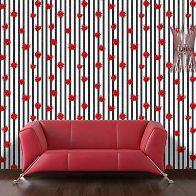 Listrado Floral Art Deco Papel de Parede Para Casa Contemprâneo Revestimento de paredes , Vinil Material Auto-adesivo papel de parede ,