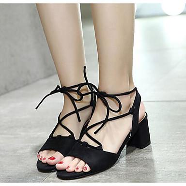 Naiset Sandaalit Comfort PU Kesä Kausaliteetti Comfort Musta Manteli 1-1,75in