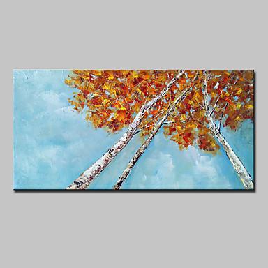 Håndmalte Blomstret/Botanisk Vannrett, Abstrakt Moderne Lerret Hang malte oljemaleri Hjem Dekor Et Panel