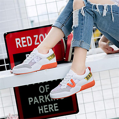Women's Shoes Breathable Mesh PU Spring Comfort Sneakers For Casual Orange Green
