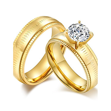 Casal Anéis de Casal Zircônia cúbica Gema Dourado Zircônia Cubica Aço Titânio Redonda Clássico Elegant Casamento Aniversário Festa