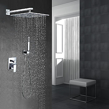 Shower Faucet - Contemporary Modern Style Chrome Wall Mounted Ceramic Valve