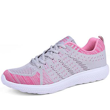 Naiset Urheilukengät Comfort Valopohjat PU Kevät Syksy Urheilullinen Kävely Comfort Valopohjat Solmittavat TasapohjaFuksia Pinkki