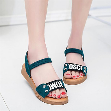 Women's Sandals Comfort Spring PU Casual Black Green Flat