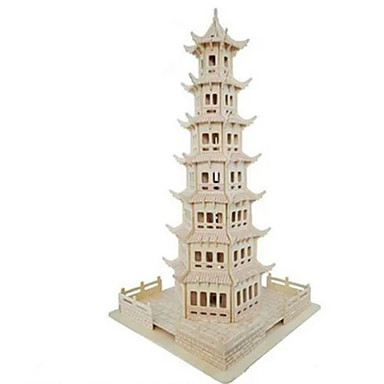 3D Puzzle / Jigsaw Puzzle / Model Building Kit Tower / Famous buildings / House DIY / Simulation Wooden / Natural Wood Kid's Unisex Gift