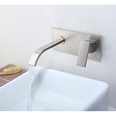 Wall Mounted Ceramic Valve Single Handle Two Holes Nickel Brushed, Bathroom Sink Faucet