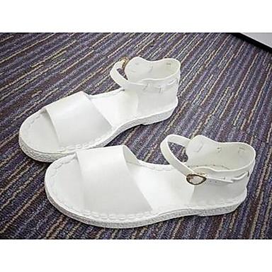 Dame Sko PU Sommer Komfort Sandaler Til Avslappet Hvit Svart Grå