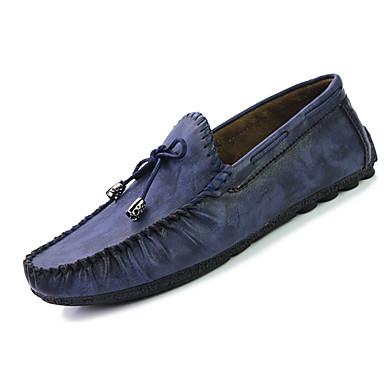 Miesten kengät PU Kevät Syksy Valopohjat Comfort Mokkasiinit Ruseteilla varten Kausaliteetti Musta Ruskea Sininen