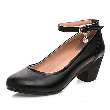 Mulheres Sapatos Couro Primavera Outono Sapatos formais Saltos Salto Robusto Dedo Apontado para Escritório e Carreira Preto Amêndoa
