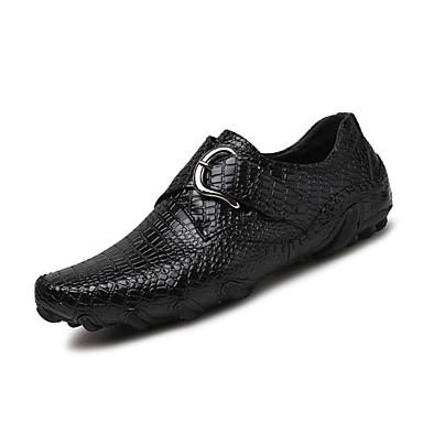 Homens sapatos Couro Primavera Verão Solados com Luzes Conforto Mocassins e Slip-Ons Presilha para Casual Ao ar livre Preto Marron
