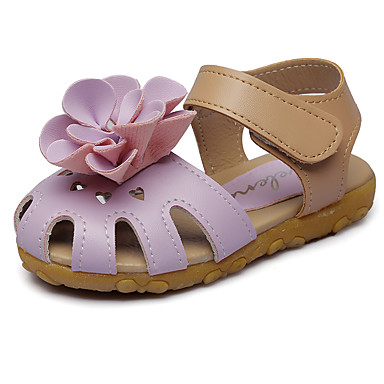 baratos Sapatos de Criança-Para Meninas Courino Sandálias Little Kids (4-7 anos) Conforto / Sapatos para Daminhas de Honra Apliques / Velcro Roxo / Rosa empoeirada / Branco Verão / TPU - Poliuternano Termoplástico