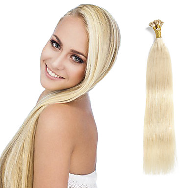 voordelige Extensions van echt haar-Febay Samensmelten / I-tip Extensions van echt haar Recht Onbehandeld haar Extentions van mensenhaar 8a Dames Aardbeien Blond
