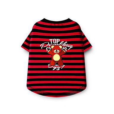 Hund Trøye / T-skjorte Hundeklær Stribe Rød Blå Rosa Bomull Kostume For kjæledyr Sommer Herre Dame Fritid / hverdag
