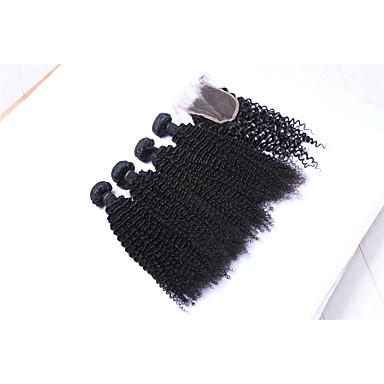 baratos Extensões de Cabelo Natural-Cabelo Brasileiro Kinky Curly / Weave Curly Cabelo Humano Cabelo Humano Ondulado Tramas de cabelo humano Extensões de cabelo humano / Crespo Cacheado