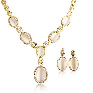 Mulheres Colares com Pendentes Opala Opal Synthetic Chapeado Dourado Redonda Forma Geométrica Irregular Oval Geométrico Circular Pingente