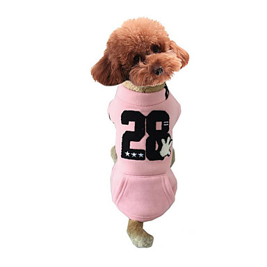Dog Sweatshirt Dog Clothes Letter & Number Gray Yellow Pink Fleece Cotton Down Costume For Pets Men's Women's Casual / Daily