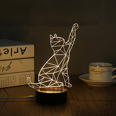 1 Set, Popular Home Acrylic 3D Night Light LED Table Lamp USB Mood Lamp Gifts, Cat