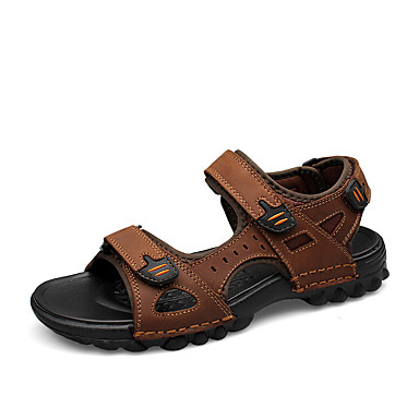 Unisex Shoes Nappa Leather Summer / Fall Comfort Sandals Water Shoes Black / Light Brown