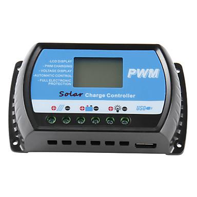 güneş şarj kontrolörü 30a 12v / 24v lcd ekran usb