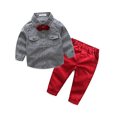 Boys' Solid Clothing Set, Cotton Polyester Spring Fall Long Sleeves Blue