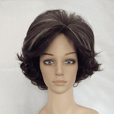 Synthetic Wig Curly Synthetic Hair Brown Wig Women's Medium Length Capless Brown