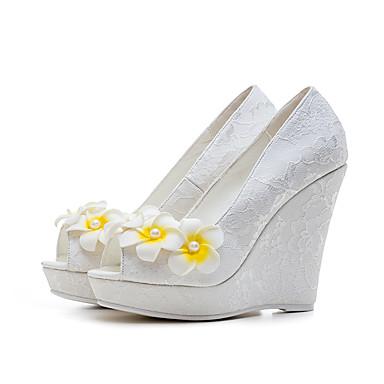 Damen Schuhe Spitze TPU Frühling Sommer Pumps High Heels Keilabsatz Peep Toe Blume Für Hochzeit Weiß