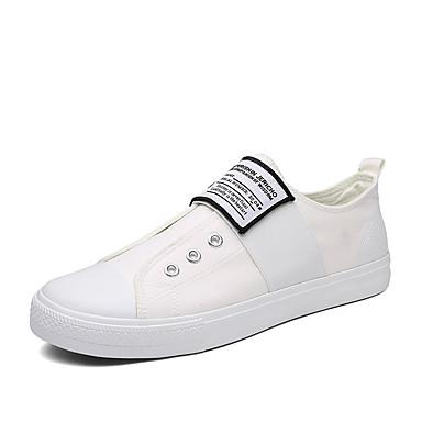 Homens sapatos Lona Primavera Outono Conforto Tênis Cadarço para Casual Ao ar livre Branco Preto