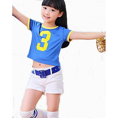 Cheerleader Costumes Outfits Kid's Performance Polyester Pattern/Print 2 Pieces Short Sleeve High Tops Shorts