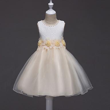 お買い得  女児 ドレス-子供 女の子 フローラル ソリッド フラワー ノースリーブ コットン ポリエステル ドレス フクシャ