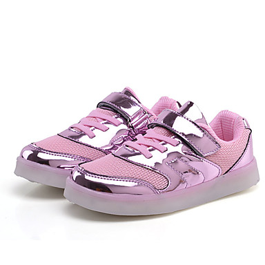 Boys' Shoes PU Spring / Fall Comfort Sneakers Lace-up / LED for Gold / Silver / Pink