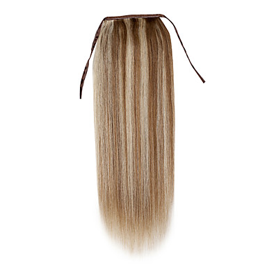 Clip In Human Hair Extensions Straight Ponytails Human Hair Light Blonde Platinum Blonde Dark Wine